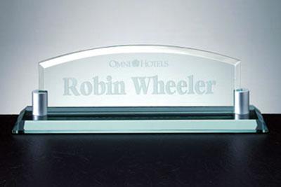 Nameplate Jade Glass Desk Name Plate Nettrophy