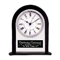 clock-clear black round arch