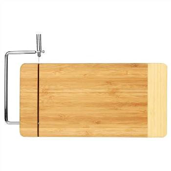 gift-2-tone bamboo cutting board with metal cheese cutter