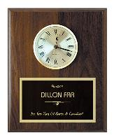 plaque-solid walnut clock