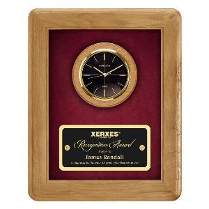 plaque-engraved veneer clock