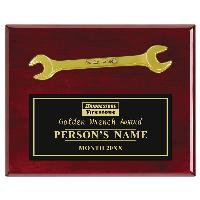 plaque-rosewood & golden wrench