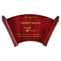 plaque-piano finish arch scroll
