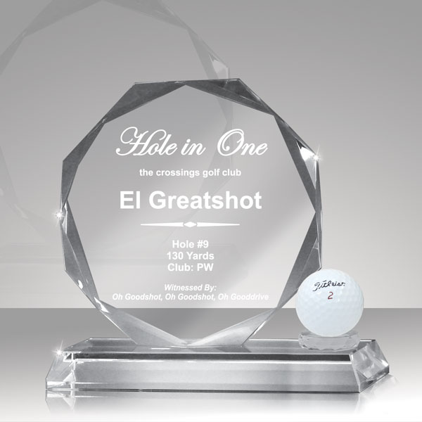Glass Octagon Crystal Hole In One Nettrophy