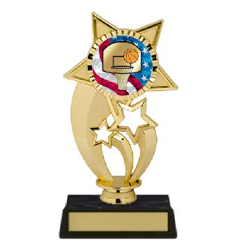 trophy-gold under star-basketball