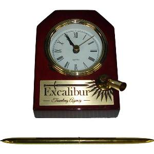 clock-desk clock with pen