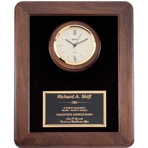 plaque-walnut velour clock