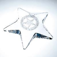 glass-pentagon star paperweight