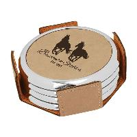 gift-silver edge leatherette coaster set