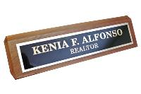 nameplate-genuine walnut desk wedge