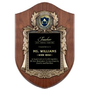 plaque-american shield wreath cast frame