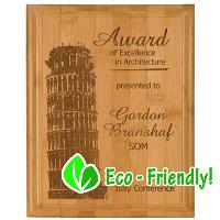 eco-laser engraved bamboo plaque